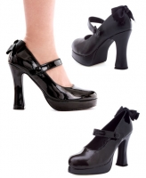 425-Glenda Ellie Shoes, 4 Inch Chunky heel Platforms Mary Jane shoes
